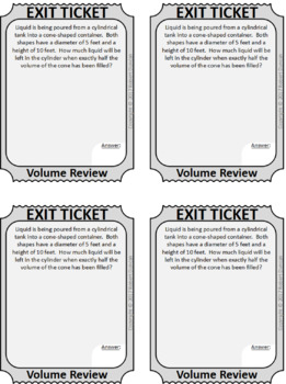 Volume of Solids Scavenger Hunt & Exit Tickets - Review (Harder problems)