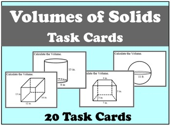 Volume of Solids Task Cards