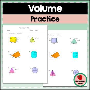 Volume of Solids Worksheet - Prisms, Cylinders, Cones, Pyramids and Spheres