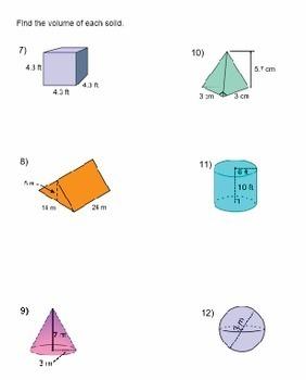Volume of Solids Worksheet - Prisms, Cylinders, Cones ...