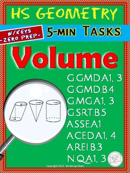 Volume of Solids, Cross-sections of 3D-figures (HS Geometry Warm-Ups -Unit 30)