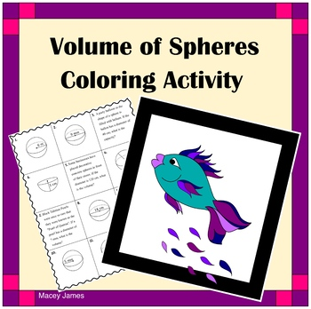 Volume of Spheres ~ Coloring Activity