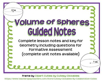 Volume of Spheres Guided Notes for Geometry