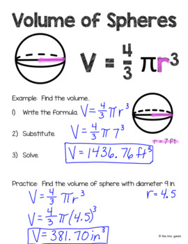Volume of Spheres Notes