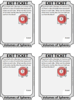 Volume of Spheres - Scavenger Hunt & Exit Tickets - Application Word Problems