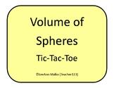 Volume of Spheres Tic-Tac-Toe