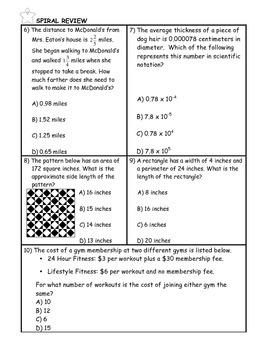 Volume of Spheres Word Problem Practice PLUS Spiral Review