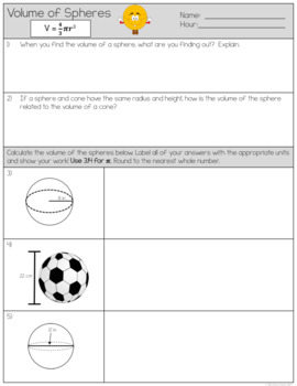 Volume and Surface Area of a Sphere by Owen134866 - Teaching ...