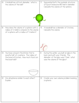 Volume of Spheres Worksheets by The Clever Clover   TpT