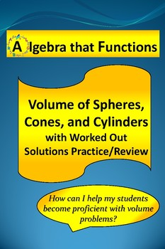 Volume of Spheres and Cones With Worked Out Solutions Practice