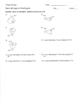 Volume of Spheres, Cones, Cylinders With Worked Out Solutions Practice/Review