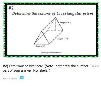 Volume of Triangular Prisms - (Google Form & Video Lesson!)