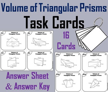 Volume of Triangular Prisms Task Cards