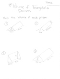 Volume of Triangular Prisms Worksheet