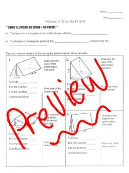 Volume of Triangular Prisms Worksheet with Key!