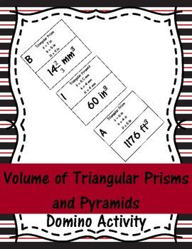 Volume of Triangular Prisms and Pyramids Domino Activity