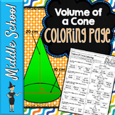 VOLUME OF CONES MATH COLOR BY NUMBER, QUIZ