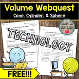 Volume of a Cone, Cylinder, and Sphere Webquest FREE DISTA