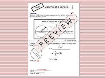 Volume of a Cone Foldable for Interactive Notebooks