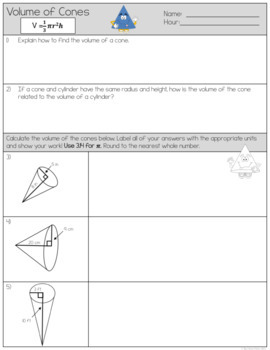 Volume of Cones Worksheets