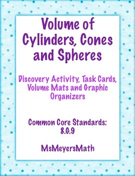 Volume of a Cone.Cylinder.Sphere Task Cards, Discovery, Gr