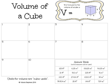 Volume of a Cube Task Cards