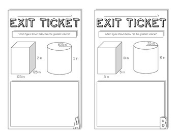 Volume of a Cylinder Exit Ticket