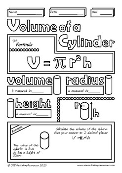 Volume of a Cylinder Middle, High School Math Doodle Notes