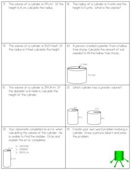 volume of cylinders worksheets by the clever clover tpt. Black Bedroom Furniture Sets. Home Design Ideas