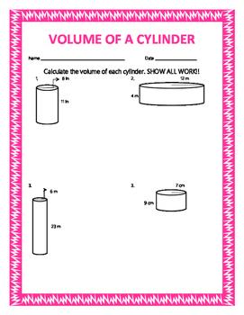 Volume of a Cylinder w/ Answer Keys