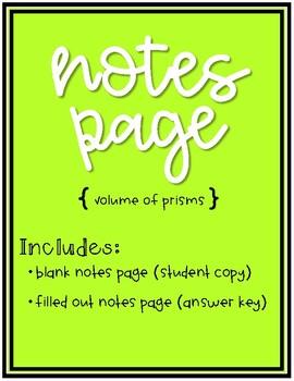 Volume of a Prism Doodle Notes