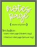 Volume of a Prism Notes Page