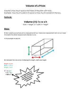 Volume of a Prism Reference Sheet