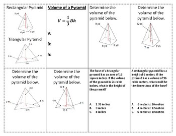 Volume of a Pyramid Foldable