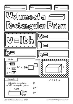 Volume of a Rectangular Prism Middle School Math Doodle Color Review