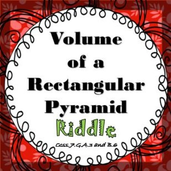 Finding Volume of a Rectangular Pyramid RIDDLE Activity Worksheets It's Fun!