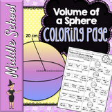 VOLUME OF SPHERES MATH COLOR BY NUMBER, QUIZ