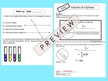 Volume of a Sphere Foldable for Interactive Notebooks