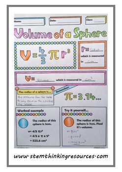 Volume of a Sphere Middle, High School Math Doodle Notes, Geometry