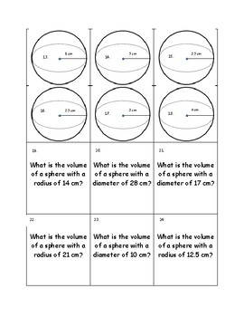Volume of a Sphere Task Cards