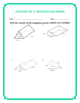 Volume of a Triangular Prism w/ Answer Key