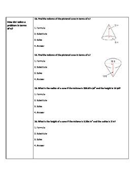Volume of cones cornell notes