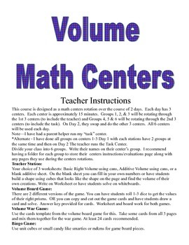 Volume or Right Prisms Math Centers and Activities