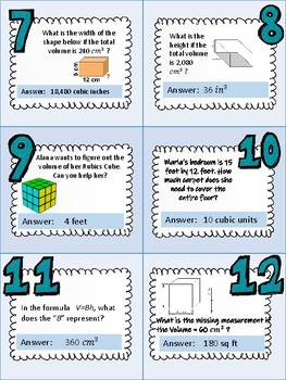 Volume w/ Area and Perimeter- CCSS 5.G.B.3 and 6.G.A.2 or Texas TEK 5.6,7,and 8