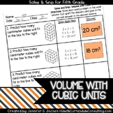 Volume with Cubic Units |  Solve and Snip® | 5th