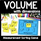 Volume with Dimensions Game, 5th Grade Volume Math Center, Montessori Game