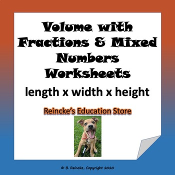 Volume with Fractions and Mixed Numbers Worksheets