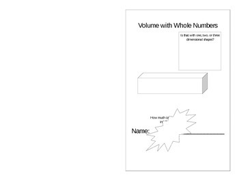 Volume with Whole Numbers Book
