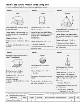 Volumes and Surface Areas of Solids Spring 2014 with Answer Key (Editable)