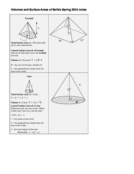 Volumes and Surface Areas of Solids Spring 2014 notes